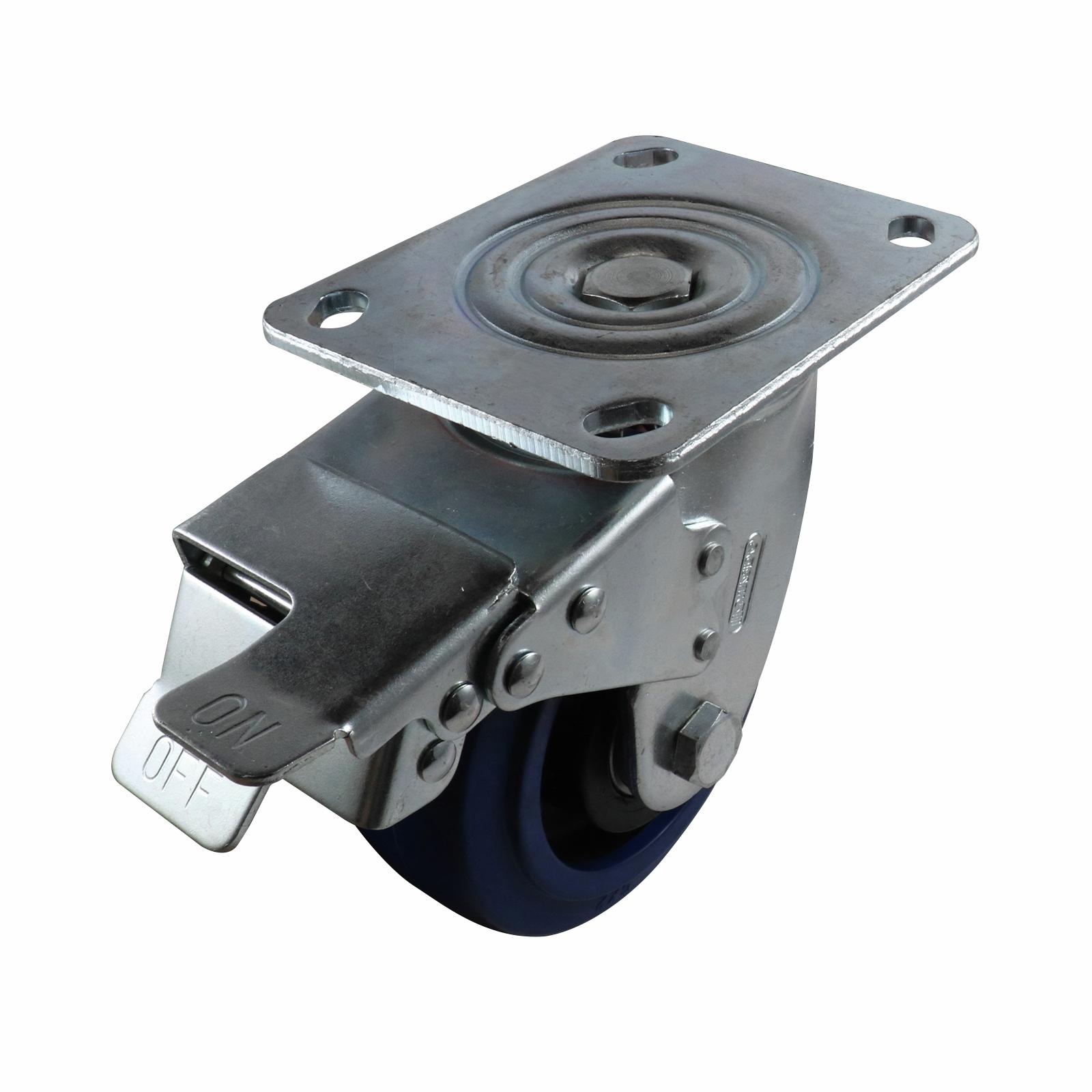 Easyroll 125mm Blu Rubber Castor Swivel Brake