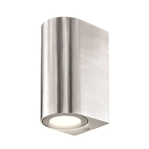 Brilliant 35W Brushed Aluminium Corbett Up Down Exterior Wall Light