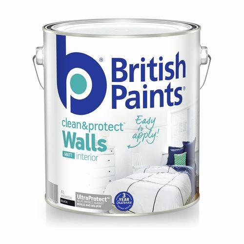 British Paints Clean And Protect Matt Black Interior Paint - 4L