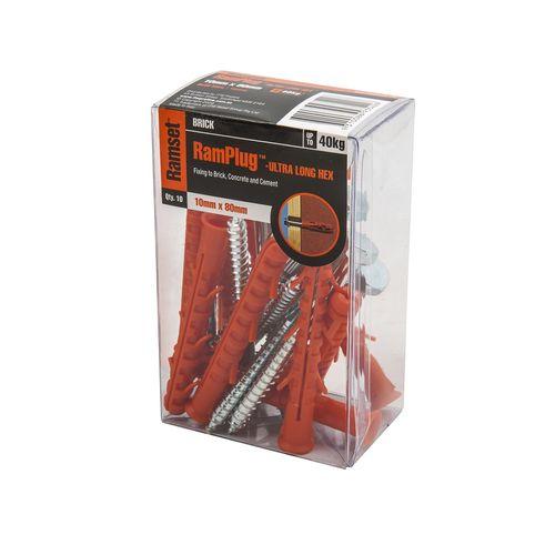 Ramset 10 x 80mm Ultra-Long Hex Anchor RamPug - 10 Pack