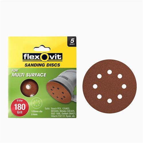 Flexovit 125mm 180 Grit 8 Hole All Surface Orbital Sanding Disc - 5 Pack
