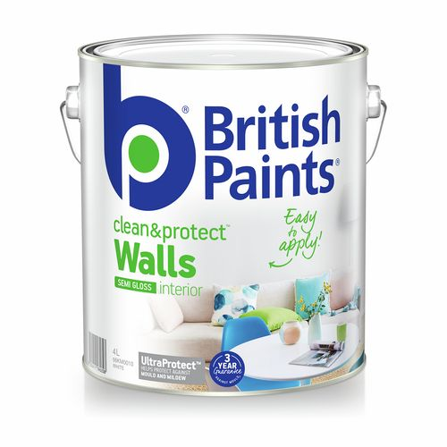 British Paints Clean And Protect Semi Gloss White Interior Paint - 4L