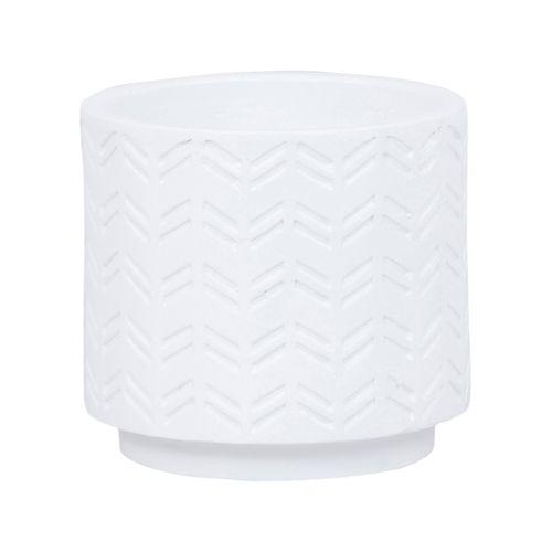Lotus 18 x 17cm White Dash Ceramic Pot