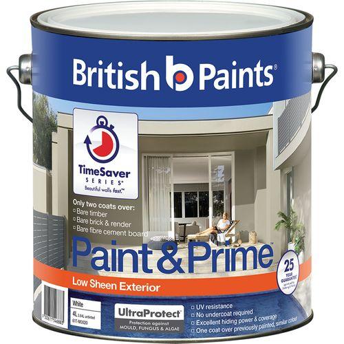 British Paints 4L White Low Sheen Paint And Prime Exterior