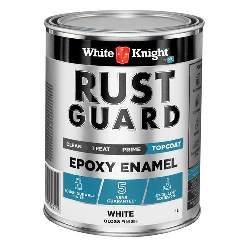 White Knight Rust Guard Gloss White Epoxy Enamel Paint - 1L