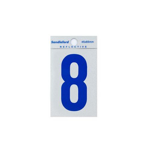Sandleford 65mm Blue Reflective Self Adhesive Numeral 8