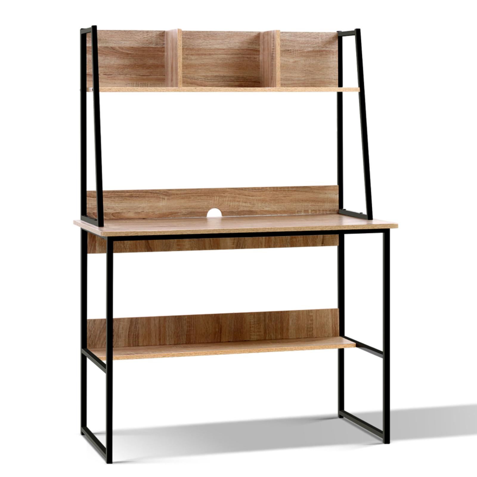 Artiss Office Computer Desk Study Table Workstation Bookshelf Storage Oak
