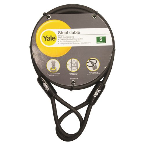 Yale 8mm x 3m Steel Cable With Vinyl Cover