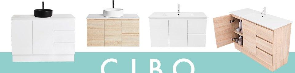 Vanities and sinks above Cibo logo.