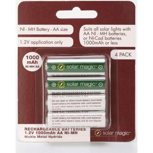 Solar Magic AA 1000mah Ni-Mh Rechargeable Batteries - 4 Pack