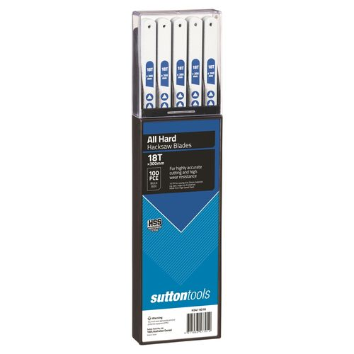 Sutton Tools 300mm 18 TPI All Hard Hacksaw Blade - 100 Pack