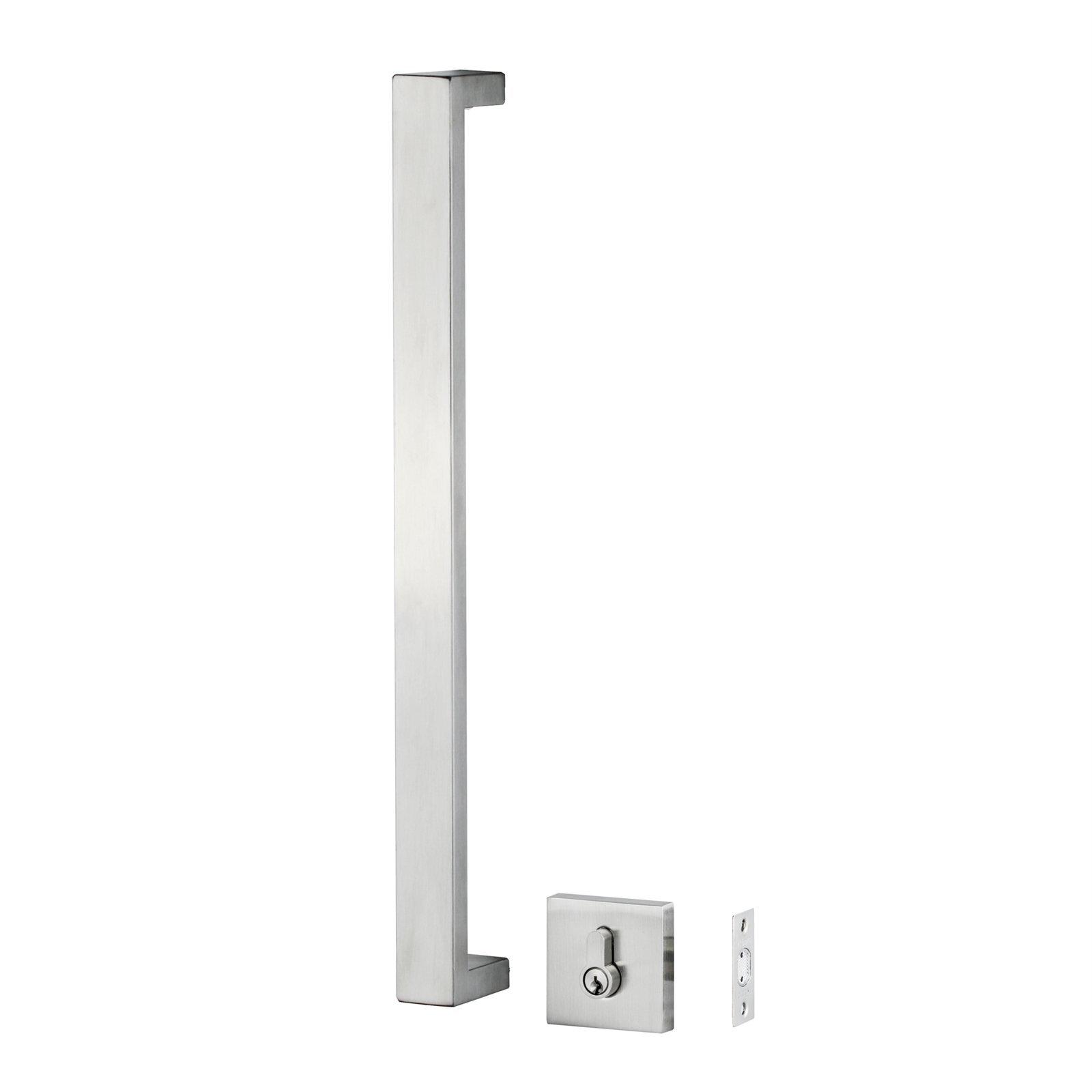 Ikonic Stainless Steel Rectangular Front Door Pull and Deadbolt