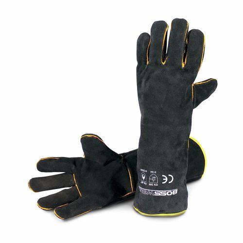 """Bossweld 16"""" Black & Gold Welding Gloves"""