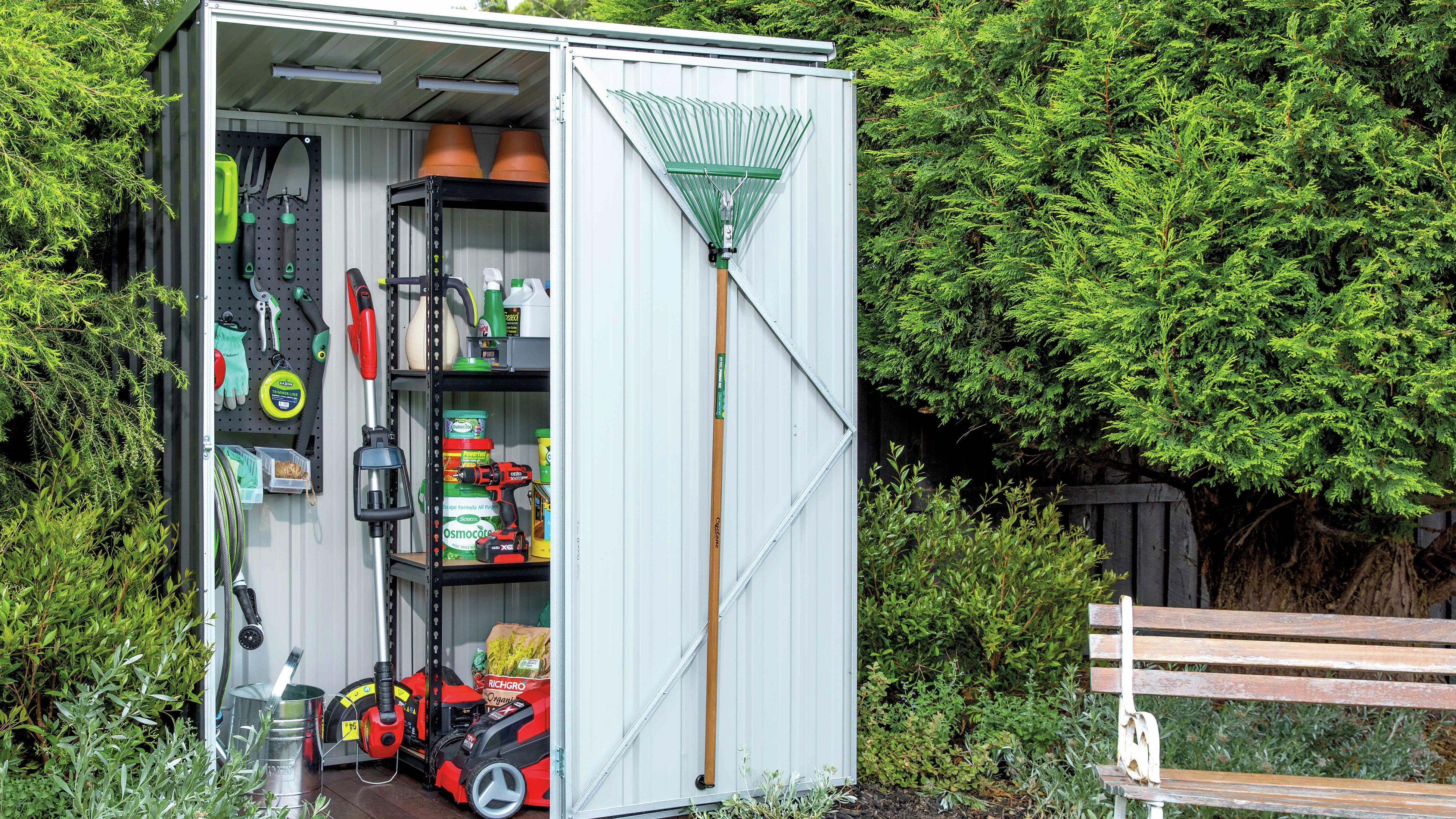 Garden shed with shelving