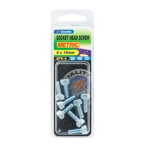 Zenith M6 x 15mm Zinc Plated Socket Head Screw - 8 Pack