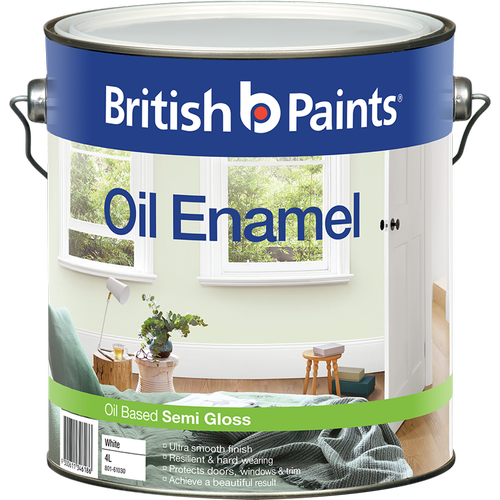 British Paints 4L Semi Gloss White Enamel Paint