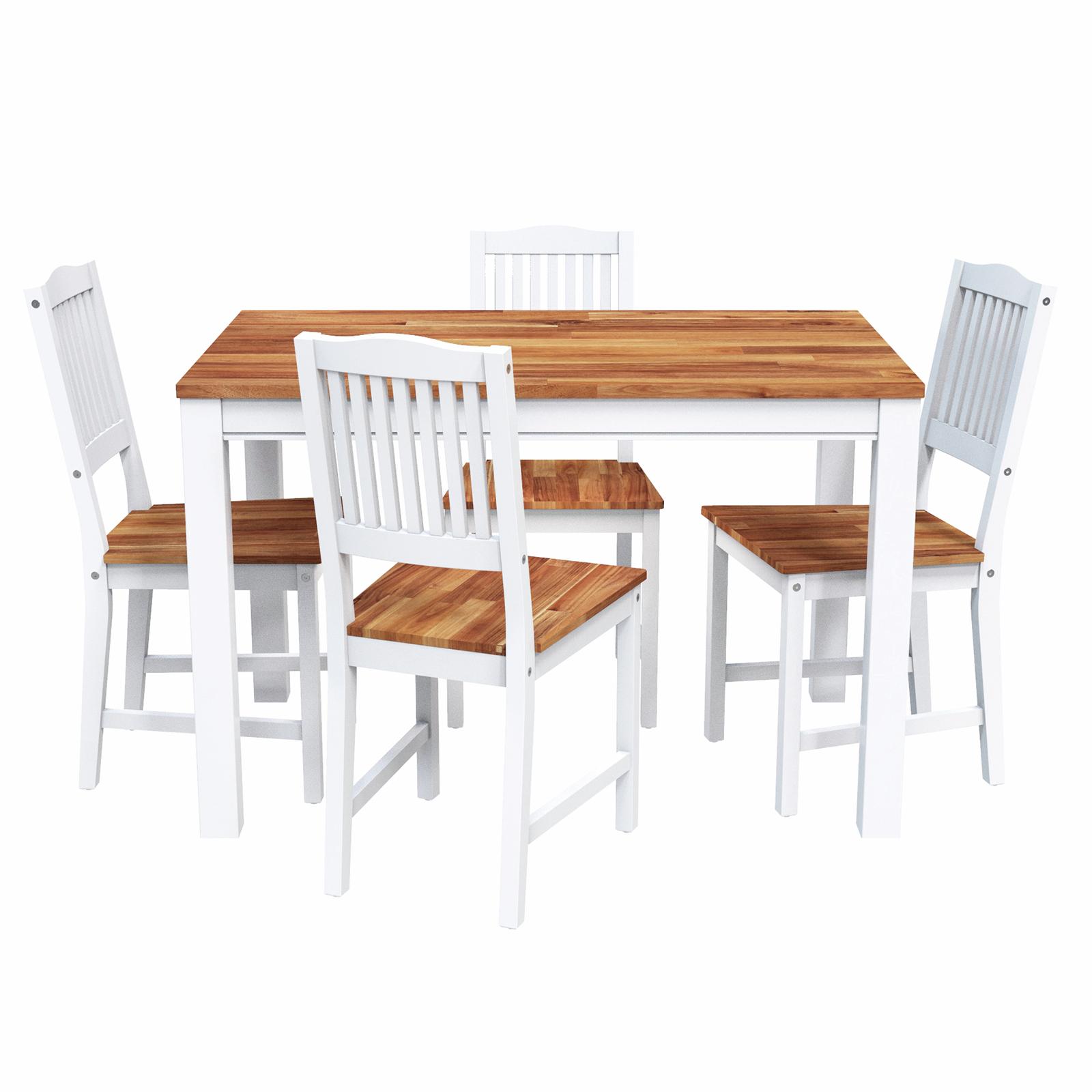 Interbuild Hardwood Swoppmokk 5 Pieces Dining Set (1 Table with 4 Chairs), FSC Acacia, Oiled (White)