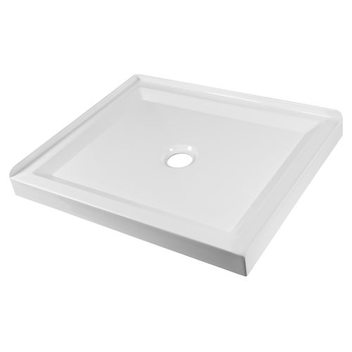 Stein 900 x 750mm White Right Hand Rectangle 2 Sided Shower Tray