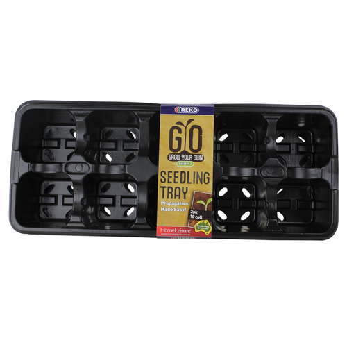 REKO 10-Cell Black Grow Your Own Seedling Tray - 3 Pack