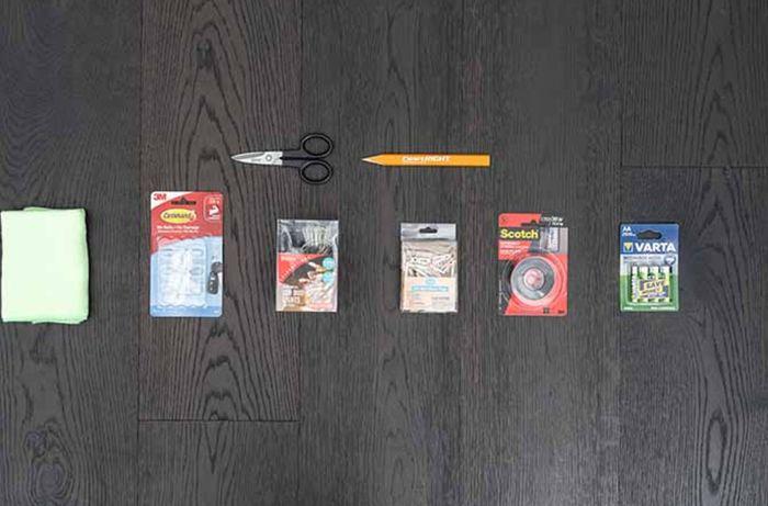 scissors, tape, batteries