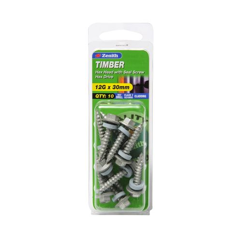 Zenith 12G x 30mm Galvanised Hex Head With Seal Timber Screws - 10 Pack