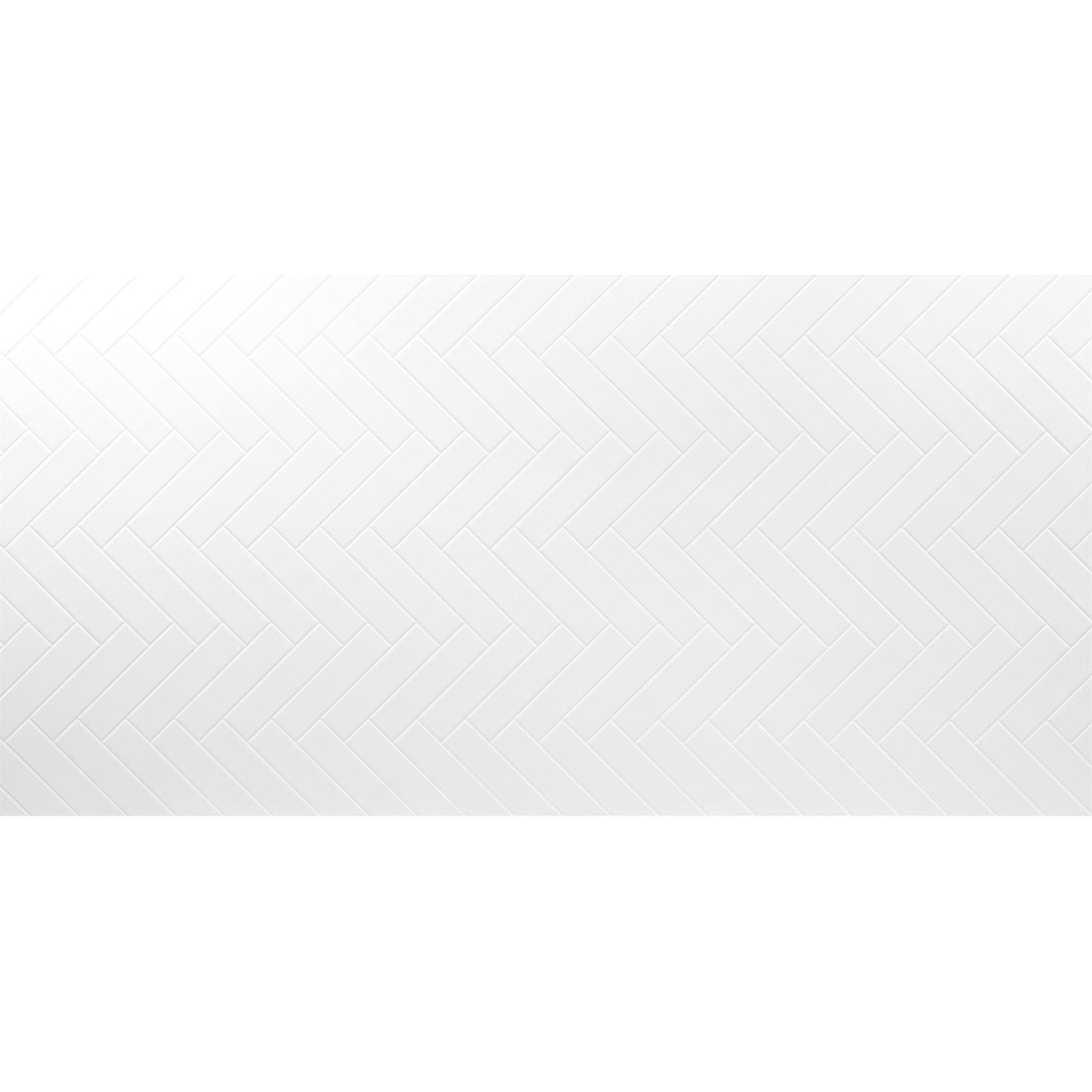 Seratone 2400 x 1200 x 4.5mm Polar White Aqua Herringbone Tile