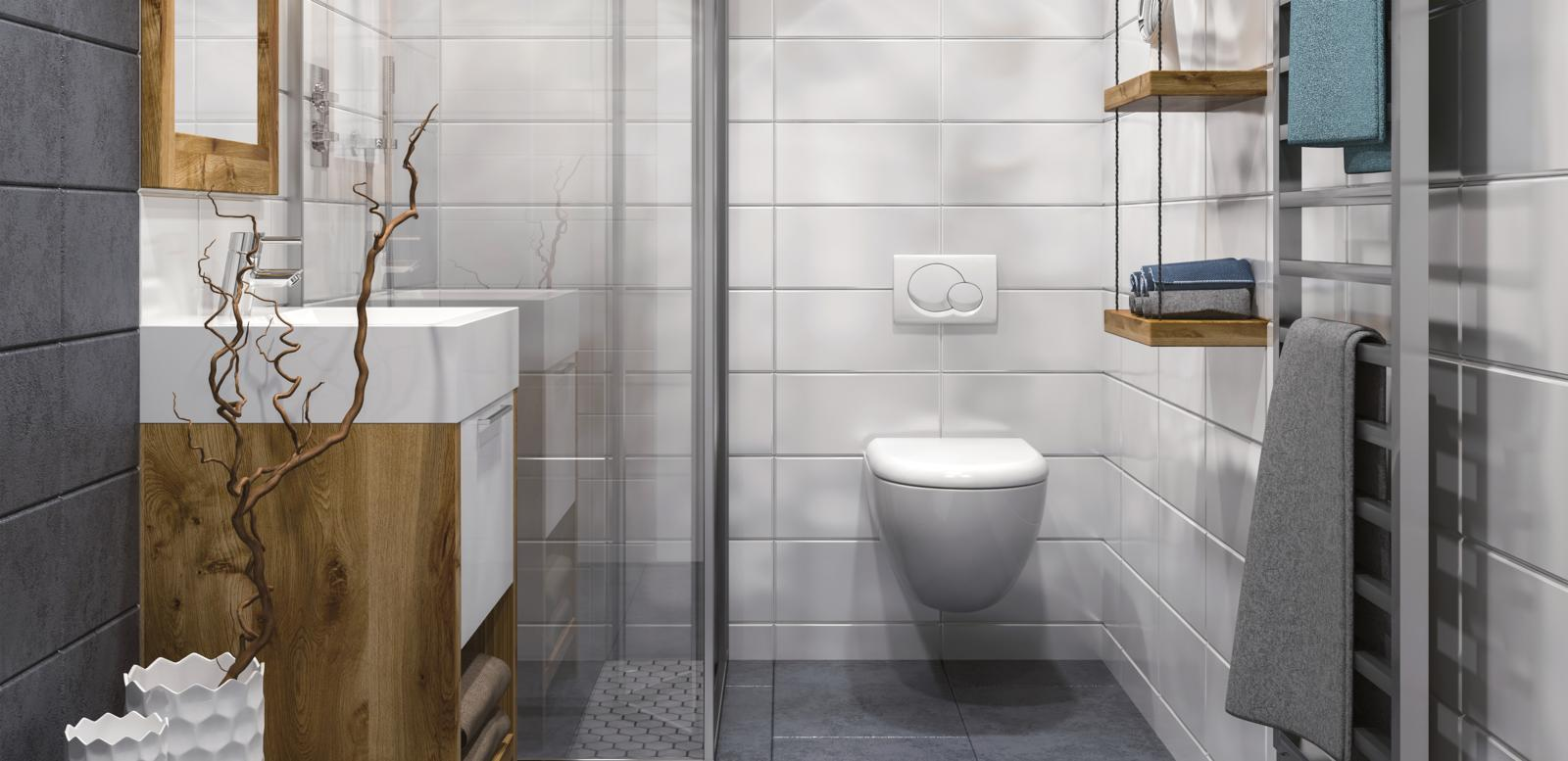 Bathroom with white sink and toilet and a timber sculpture