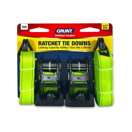 GRUNT 38mm x 6m Ratchet Tie Down - 2 Pack