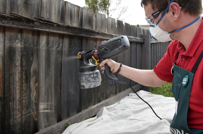 DIY Step Image - How to paint a fence with a spray gun. Blob storage upload.