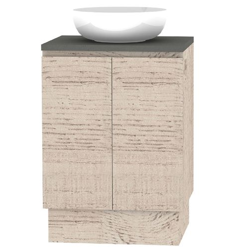 Forme 600mm Mont Albert Freestanding Vanity With Cement Stone Top And Atom Basin No Tap Hole - Light Ash