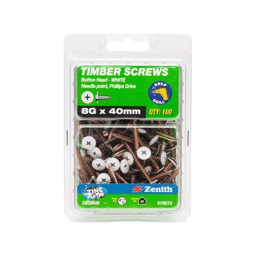 Zenith 8G x 40mm White Button Head Screw - 100 Pack