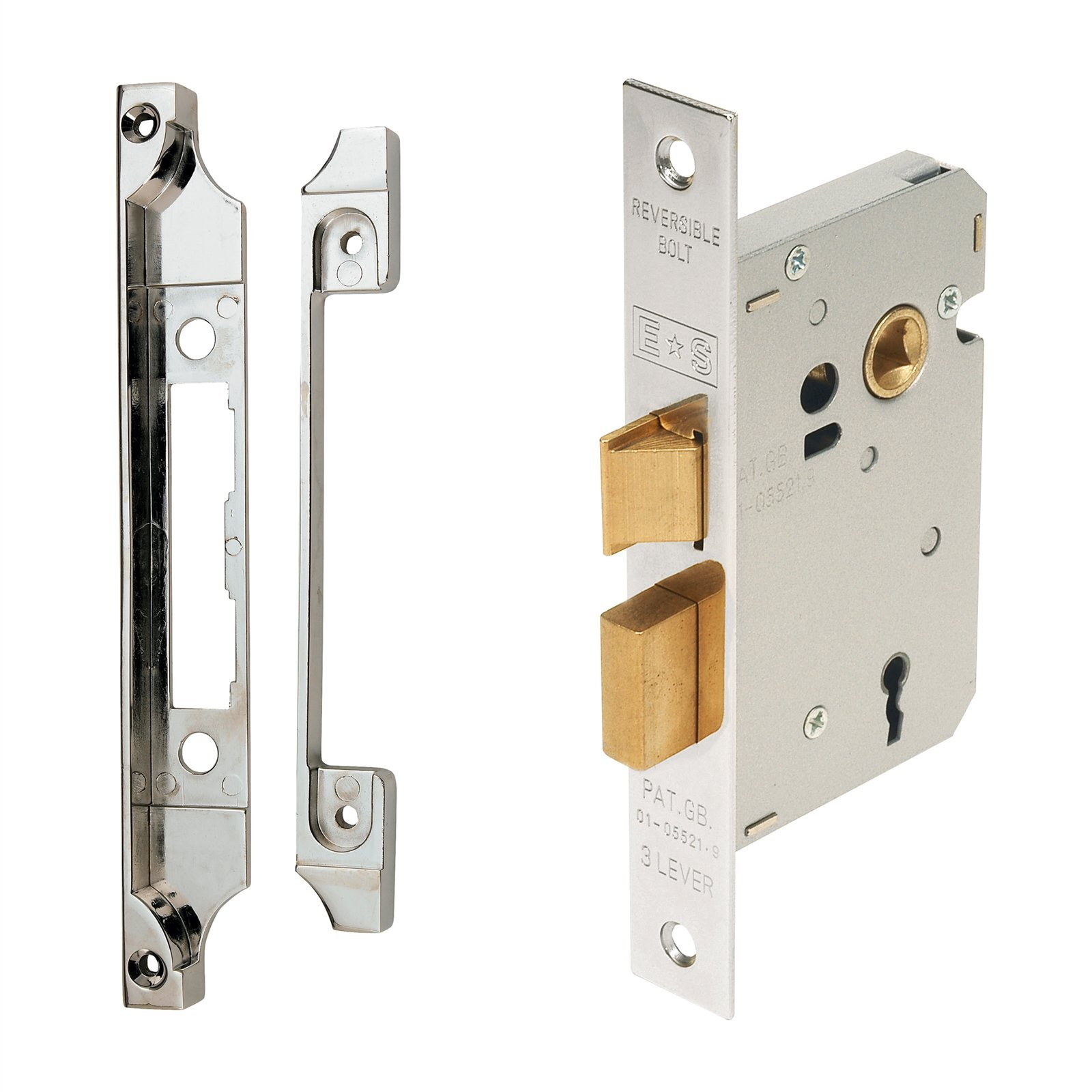 Windsor Chrome Plated Rebated 3-Lever Lock Kit