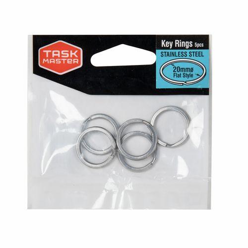 Taskmaster 20mm Stainless Steel Key Ring - 5 Pack