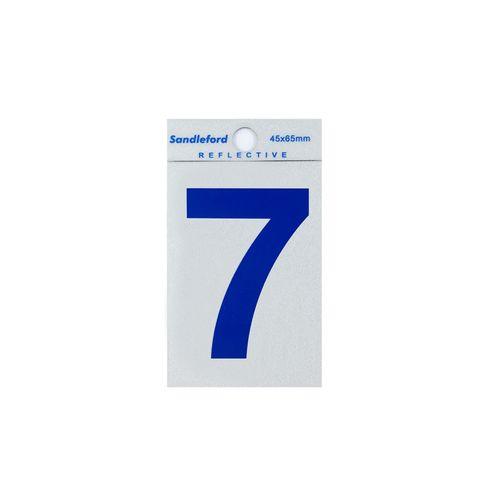 Sandleford 65mm Blue Reflective Self Adhesive Numeral 7
