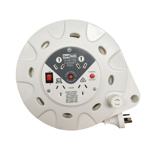 CordTech 10m 4 Socket Home And Office Cassette Reel