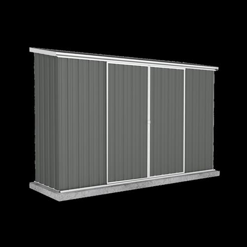 Absco Sheds 3.0 x 0.78 x 1.95m Ezislider Double Sliding Door Garden Shed - Woodland Grey
