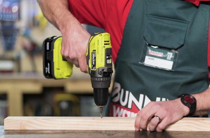 Bunnings team member using a brush or brushless drive