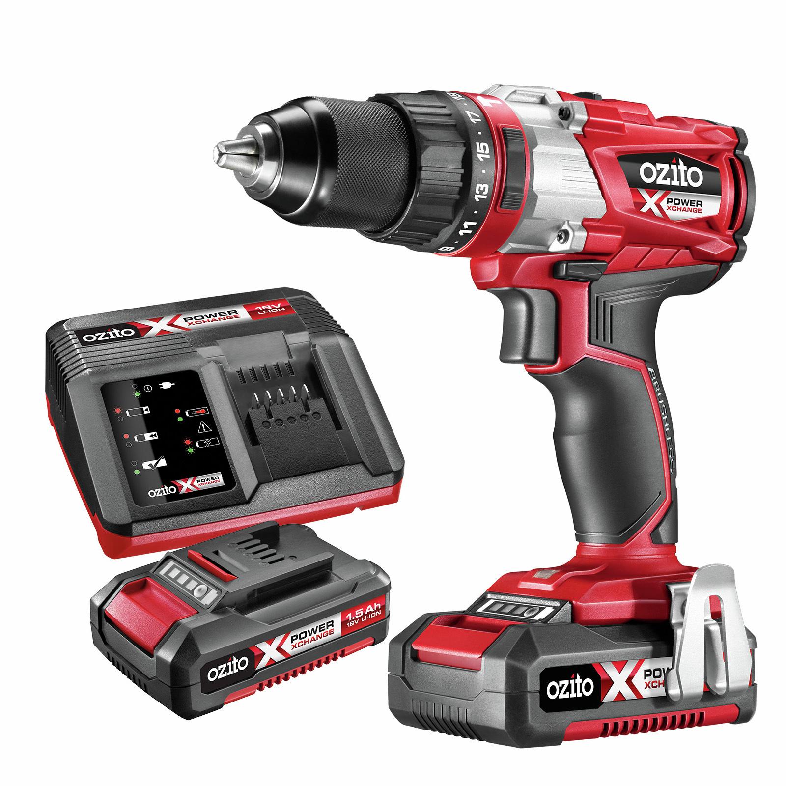 Ozito PXC Brushless Hammer Drill Kit