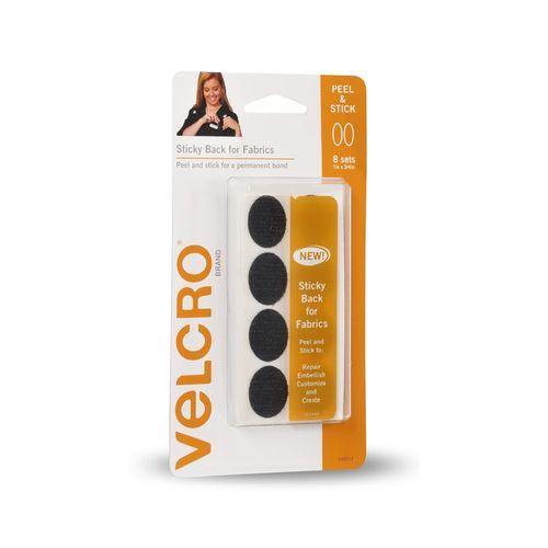 VELCRO® Brand Black Ovals Sticky Back for Fabrics - 8 Pack