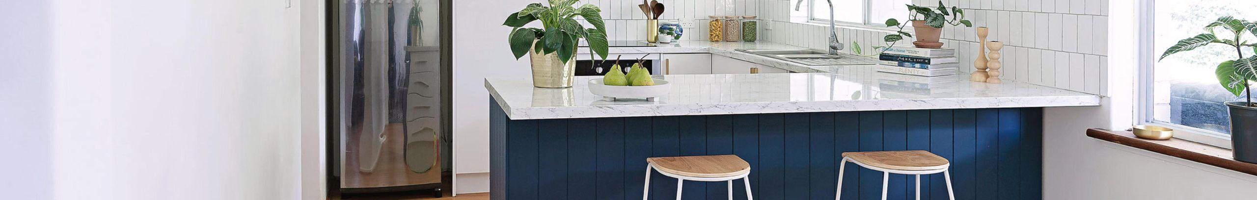 Modern kitchen with white stone benchtop