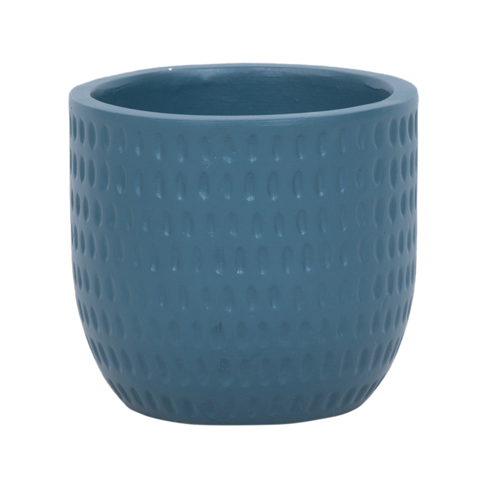 Lotus 18 x 16cm Navy Medium Dotty Ceramic Egg Pot