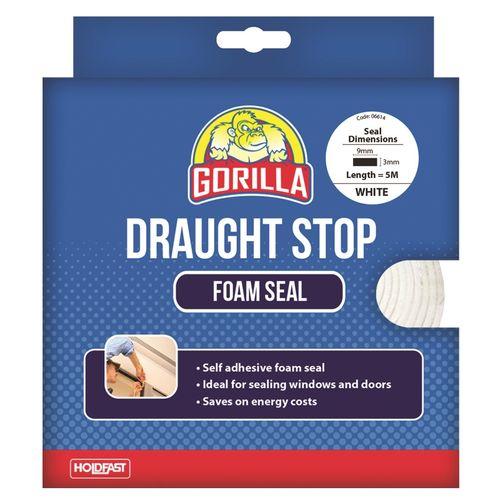 Gorilla 9mm x 3mm x 5m White Draughts Stop Foam