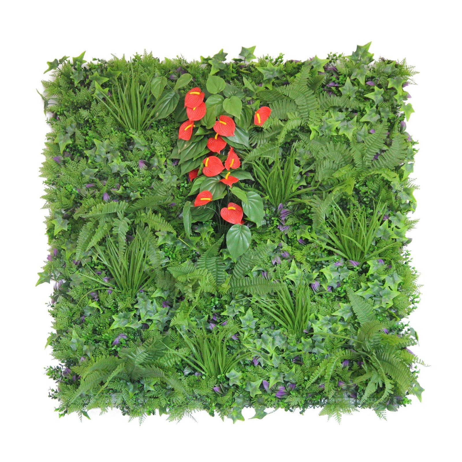 UN-REAL 100 x 100cm Luxury Artificial Hedge Tile - Anthurium