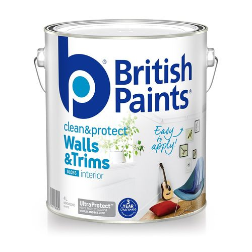 British Paints Clean And Protect Gloss White Interior Paint - 4L