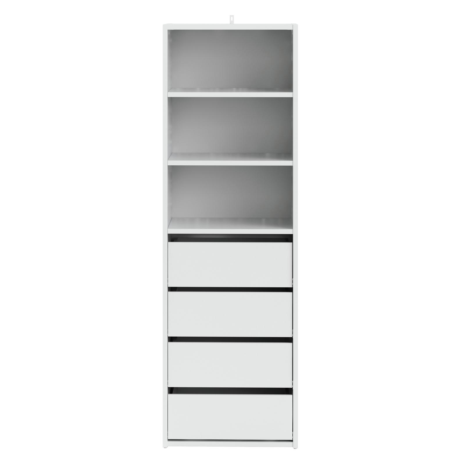 Flexi Storage White 3 Shelf 4 Drawer Built In Wardrobe Unit