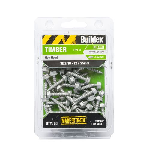 Buildex 10-12 x 25mm Climaseal Hex Head Timber Screws - 50 Pack