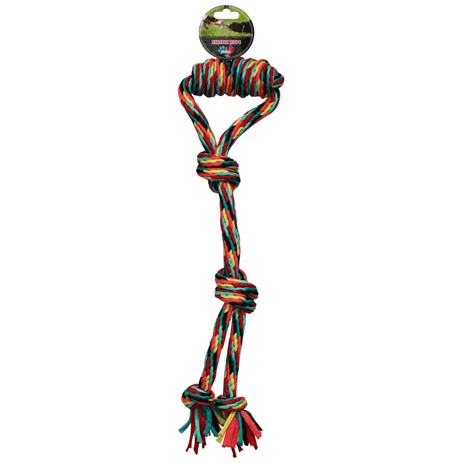 Paw Play 45cm Stretch Tug War Rope 220g Cotton Knots/Braided Teeth Clean Dog Toy