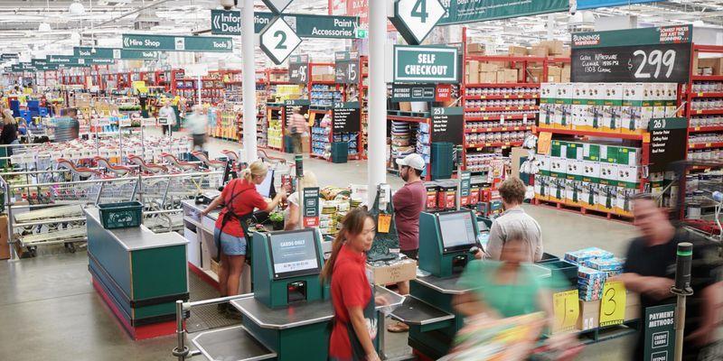 Customers and Team Members inside Bunnings Warehouse Mentone.