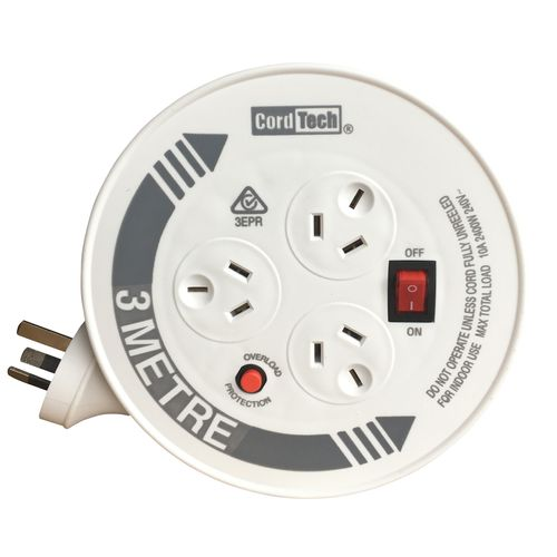 CordTech 3m Home & Office Cable Reel with 3 Outlets