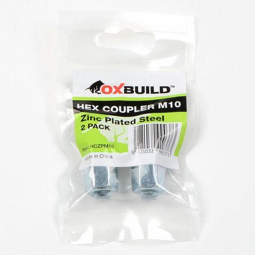 Oxbuild M10 Zinc Plated Hex Coupler - 2 Pack
